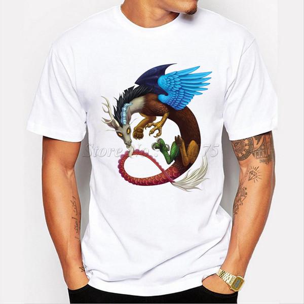 Pterosaur t shirt Mixed dragon short sleeve tops Cool print fadeless tees Man woman white colorfast clothing Pure color modal Tshirt