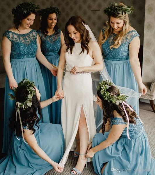 2019 Lace Top Colheita Chiffon Damas De Honra Vestidos De Verão Boho Wedding Guest Party Vestidos de Noite Plus Size A Linha Maid of Honor Vestidos BM0335