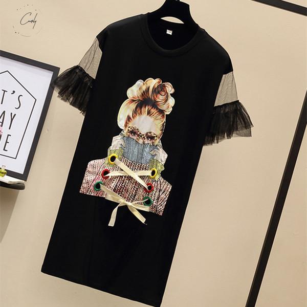 Shirt Vestidos Plus Size Tamanho Womens T Moda acima do joelho Streetwear menina Espetáculos Imprimir Mini malha da borboleta dos retalhos vestidos de manga