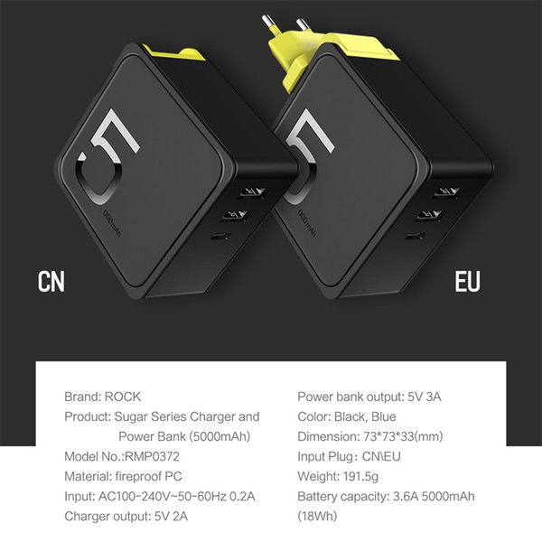 ROCK 5000mAh 2 in 1 Power Bank with Wall USB Charger for iPhone X Xiaomi Plug Portable Power Bank Battery,HXA0449B-EU
