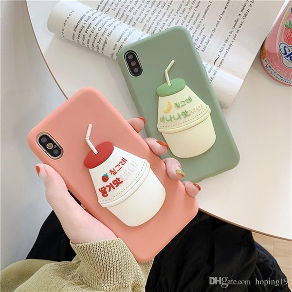 Factory price Japan South Korea 3D Cute Sweet Banana Milk Strawberry Drink silicone cover case for iphone MAX XS XR 6 7 8 plus X phone cases
