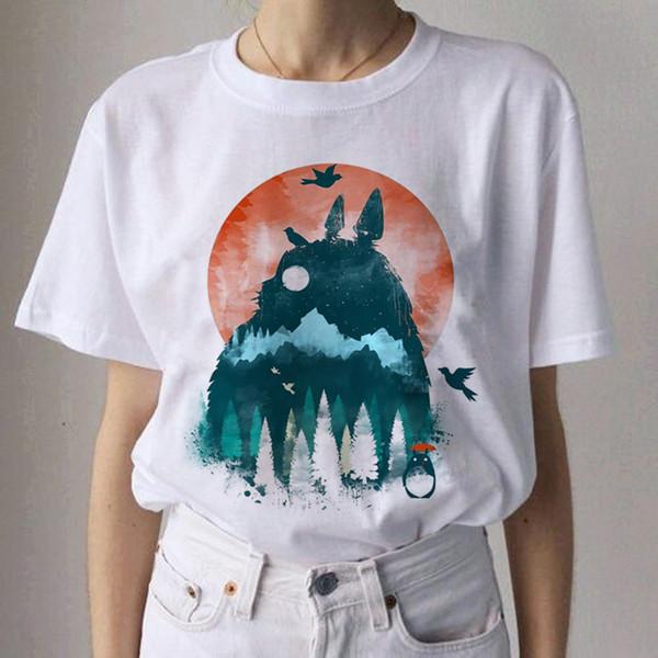Studio Ghibli Kawaii Harajuku Camisetas Mujer Miyazaki Hayao Camiseta divertida de dibujos animados Moda 90s Camiseta linda Top Tees Mujer
