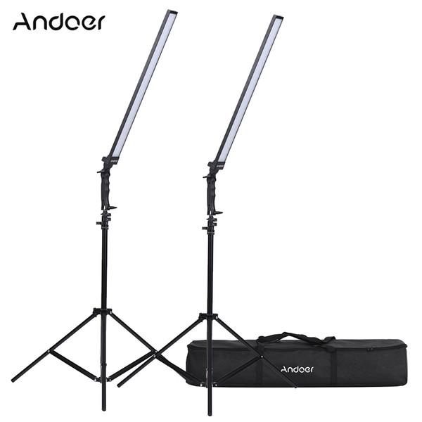 видео Andoer LED Видеостудия LED ing Kit Комплект с регулируемой яркостью света и подставкой 36W 5500K CRI90 +