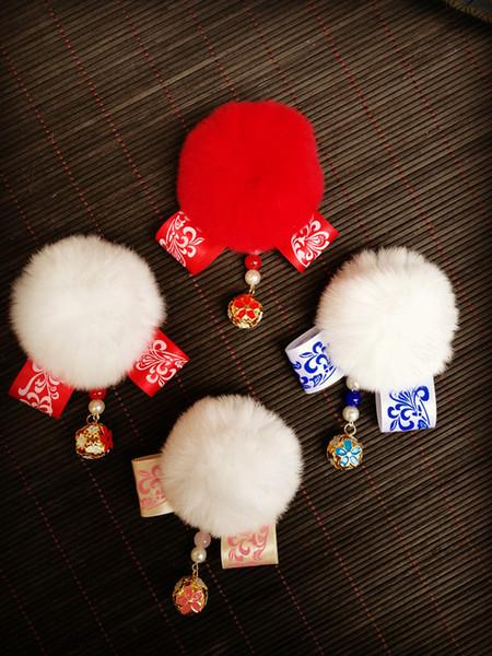 Accesorios para el cabello para niños Shaggy White Hair Ball Tassel Bow Tocado Estilo chino