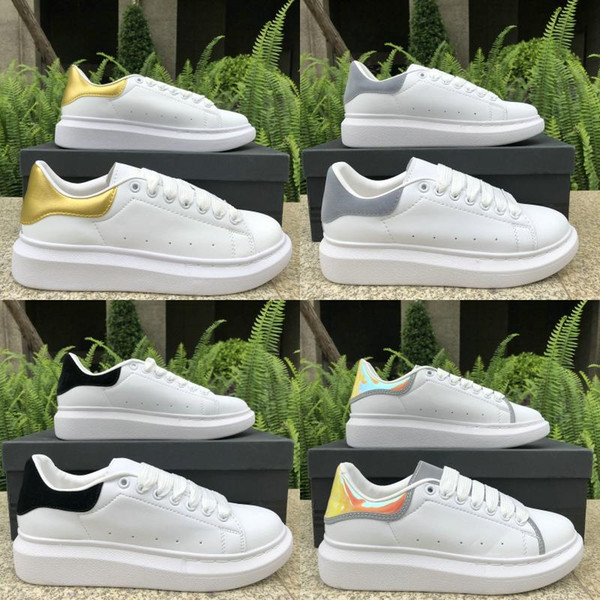 2019 Designer Luxury Men Women Flat Shoes fashion Casual shoes Top Black pPink Green Leather Sneakers Runner Trainer US 5-11