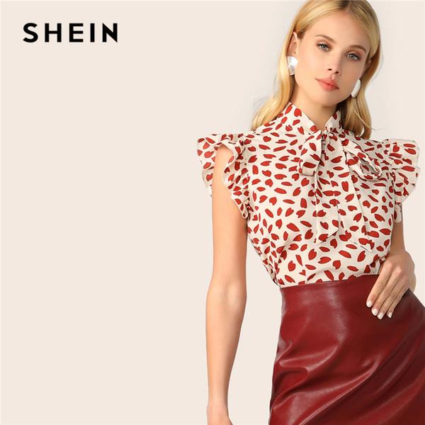SHEIN Zarif Kırmızı Papyon Boyun Fırfır Trim Petal Baskı Üst Bluz Kadınlar Yaz 2019 Ofis Lady Workwear Kolsuz Bluzlar