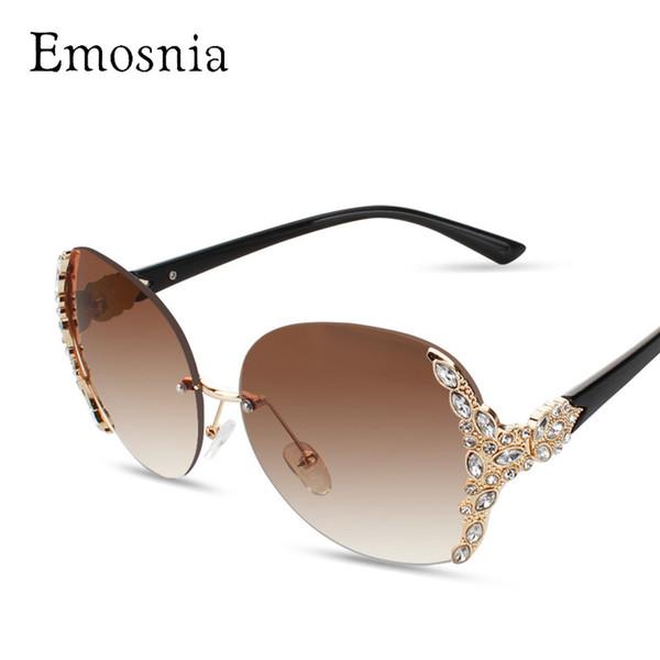 Emosnia 2017 Güneş Kadınlar Elmas Boy Kalkan Gözlük Degrade Vintage Marka Tasarımcısı Gözlük Çerçeveleri Çerçevesiz Cam