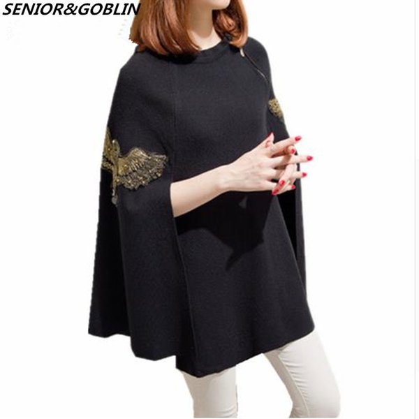 2019 Autumn Winter Runway Black Gray Embroidery Bead Ponchos Capes Pullovers Knitted Sweater Women Batwing Sleeve Christmas Coat