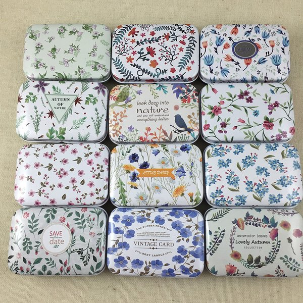 12pcs/lot Fresh Flowers Square Shape Tin Storage Case Mini Pill Box with Lid Diy Jewerly Case Pocket Box Gft Boxes C19010501