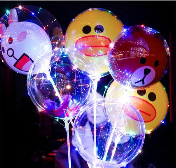 LED Balloon Cartoon Battery Box Night Light Up Balloons Christmas Valentine's Day Wedding Party Transparent Kids Balloon Party Decoration