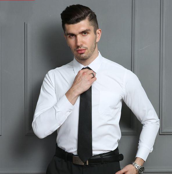 New Fashion Designer Men's High Quality Classic Solid Color Slim Fit Dress Shirt Romantic Wedding Groom Suit Shirt For With Button Men Plus