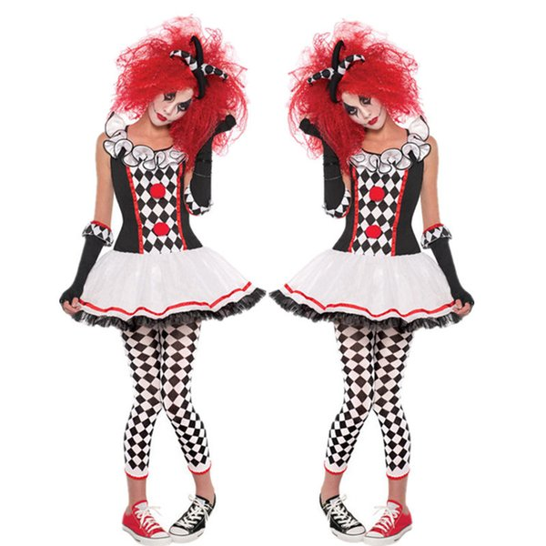 Costume da circo Clown Fancy Costume di Halloween per adulti Adult Horror Cosplay Carnevale Quinn Funny Actor Show