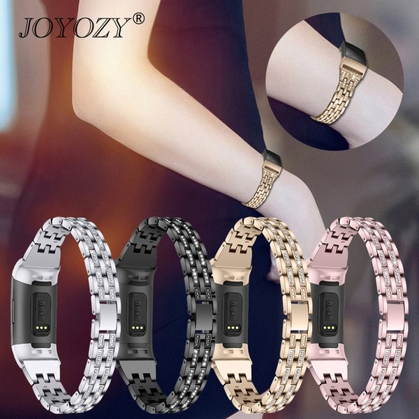 Joyozy New Fashion Luxury Watch Band Metal Bracelets Replacement Adjustable Straps Crystal For Fitbit Charge 3