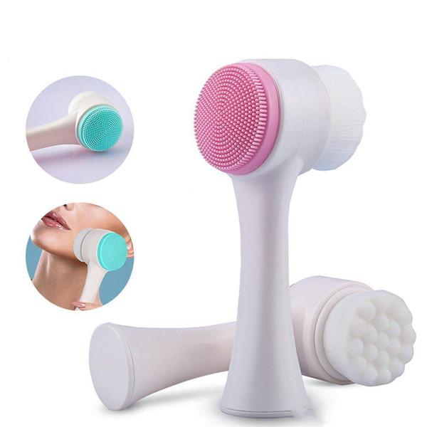 HF002 Dupla Face Multifuncional Escova De Limpeza Facial de Silicone Tamanho Portátil 3D Facial Ferramenta de Massagem de Limpeza Facial Escova