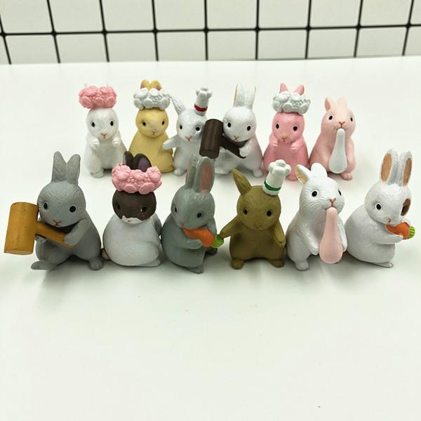 12 шт. / Компл. Маленький белый кролик животное семейство 12 разных поза кроликов Очень милый кролик модель пальца Украшение семьи детские игрушки