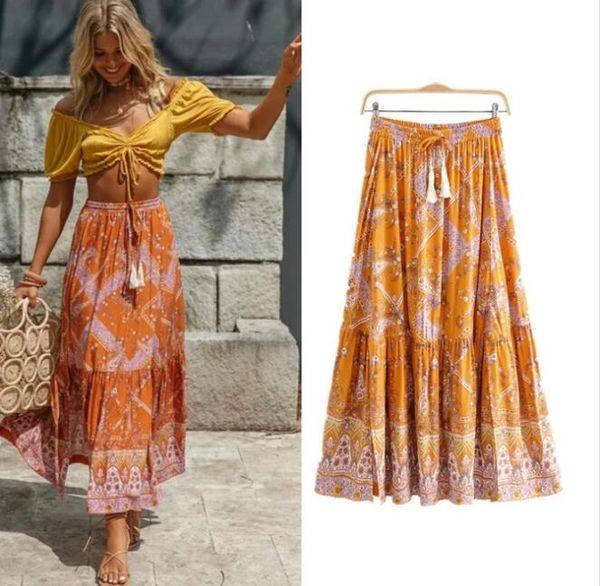 best selling Women orange floral spliced long Boho skirts 2020 New Spring summer bohemian beach skirt new chic skirts womens elastic slits casual skirts