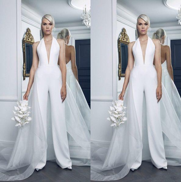 Modest Plus Size Robes De Mariée Femmes Combinaisons Avec Tulle Overskirt Cou V Profond Robe De Mariée Plage Pure Blanc Robes De Mariée Sexy Retour