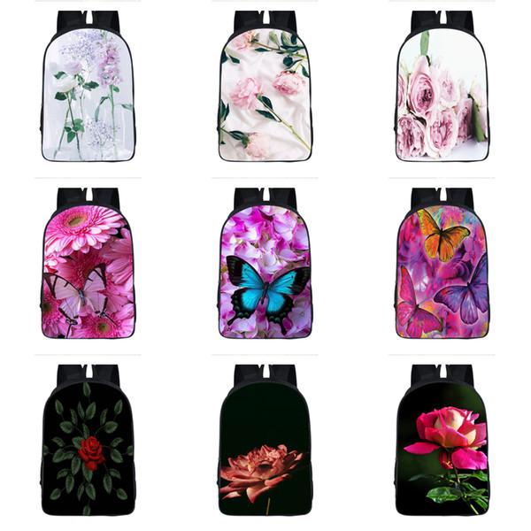 Kızlar Çiçek Teması Sırt Çantası 19 Design Özel 3D Lady Omuz Sırt Çantası Çocuklar Çok Fonksiyonlu Sırt Yüksek Kapasiteli Karikatür Fermuar Çanta 06