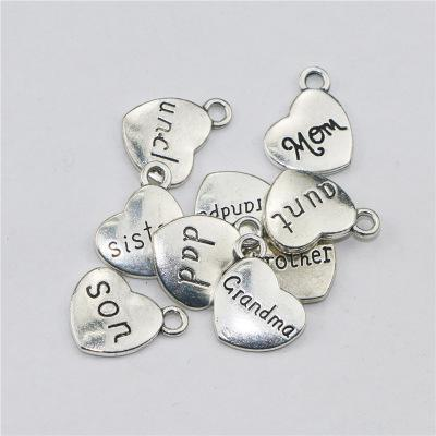 100pcs 15MM Antique Silver heart dad mom son sister charms grandma grandpa uncle brother aunt pendant DIY Jewelry Hanging Part