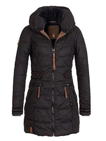 Winterjacke Frauen Plus Size Womens Parkas verdicken Oberbekleidung feste Kapuzenmäntel kurze weibliche dünne Baumwolle gepolsterte grundlegende Oberteile 2019