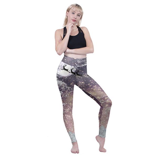 Women High Waist Leggings Santa Flight 3D Graphic Full Print Stretchy Yoga Wear Pants Lady Sports Trousers Girl Runner Pencil Fit (Y601197)