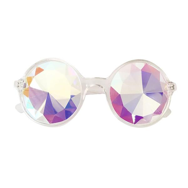 Kadın Moda yuvarlak renkli lensler Gözlük Rave Festivali Parti EDM Güneş Gözlüğü Kaleydoskop güneş gözlüğü Kırık Lens 2019 # 7