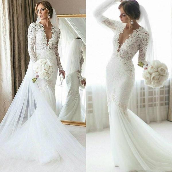 Nueva sirena agraciada vestidos de novia de ilusión de cuello en V profundo apliques de encaje mangas largas Spring Autum vestidos de novia vestido de novia de talla grande