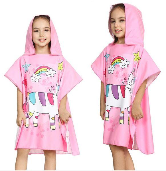Beach Towel Boys Girls Kids Swimming Bath Towels Unicorn Cartoon Hooded Cloak Mermaid Shark Towel 66*65CM Animal Polyester Baby Gift