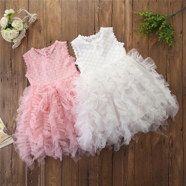 INS Filles Robe en dentelle Sans manches Princesse Fête Broder Tulle Robe de bal en robe de bal Vêtements pour filles Blanc Rose 2019 Eté