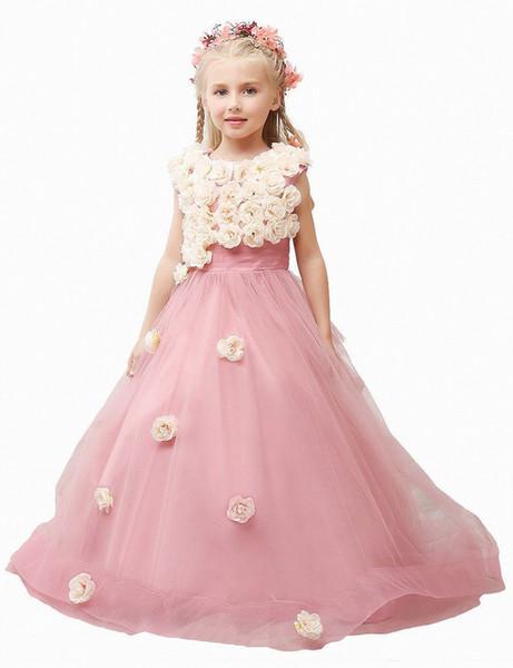 Nova rosa meninas vestido de casamento formal pageant crianças vestidos de festa da menina menina vestidos ytz62