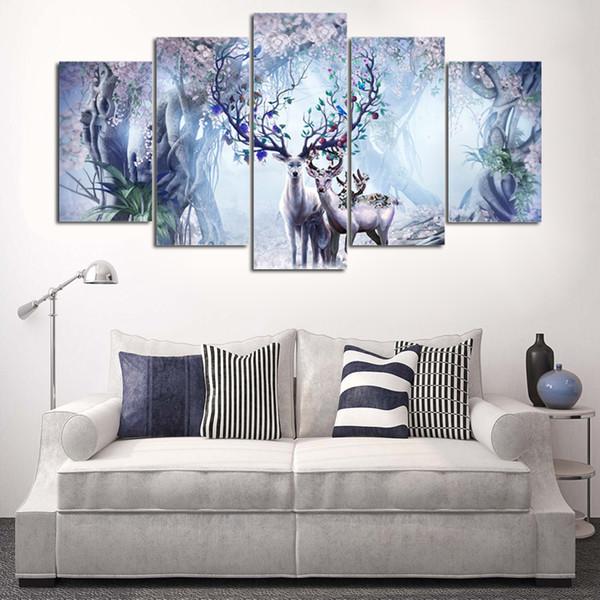 Painting Art Wall HD Modular Picture 5 Pieces/Pcs Beautiful Flower Canvas Deer Nature Landscape Print For Living Room Home Decor