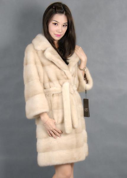 Из натуральной норки пальто с отложным воротником светлого цвета 100% мех натуральный норковый КоА t2019 Y191210