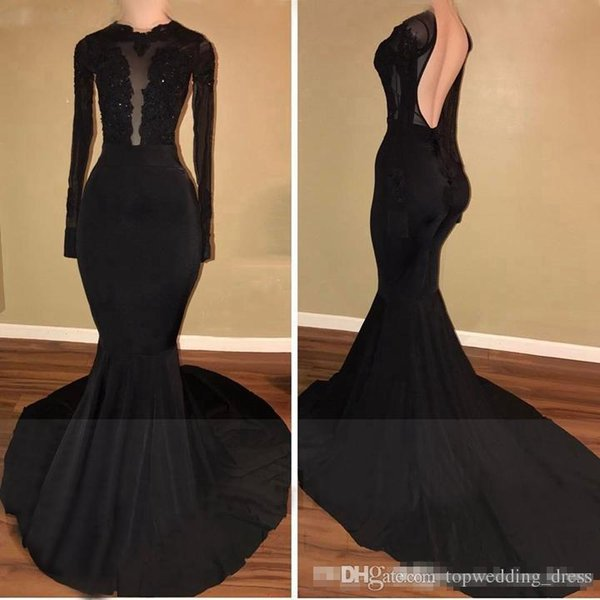 2019 Black Mermaid Prom Dresses Long Sheer Long Sleeves Beaded Appliques Lace Sweep Train Backless African Stretch Satin Evening Gowns