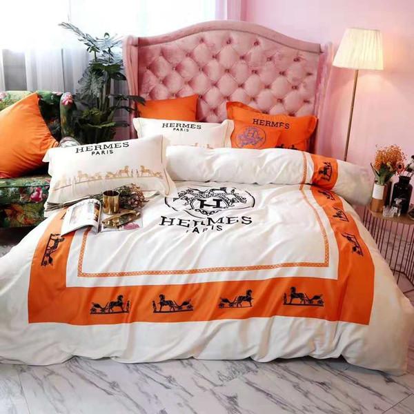 Bianco Arancio 4PCS Set di biancheria da letto Fashion Design Lettera H poliestere Colori Inverno Lenzuolo Regina King Size Fashion PillowCase Copripiumino