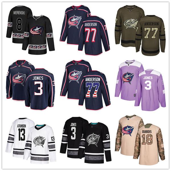 best selling Custom Columbus Blue Jackets Jersey 13 Cam Atkinson 18 Pierre-Luc Dubois 3 Seth Jones 8 Zach Werenski 77 Josh Anderson USA Flag hockey