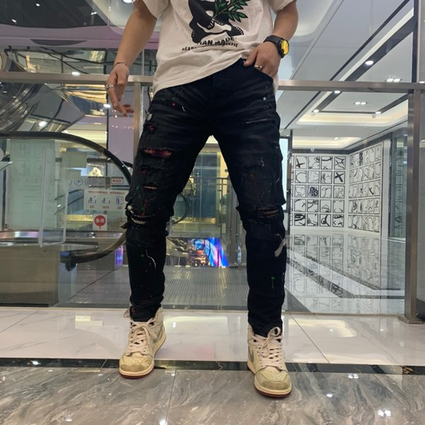 Top men's elastic embossed skull fashion jeans designer men's jeans designer slim men's printed jeans 073