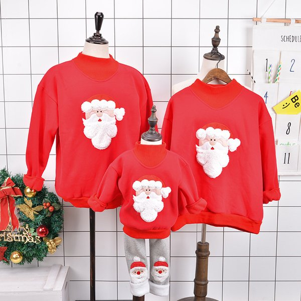 Family Matching Outfits 2019 Winter Christmas Sweater Cute Deer Children Clothing Kid T-shirt Add Wool Warm Family Clothes mc002