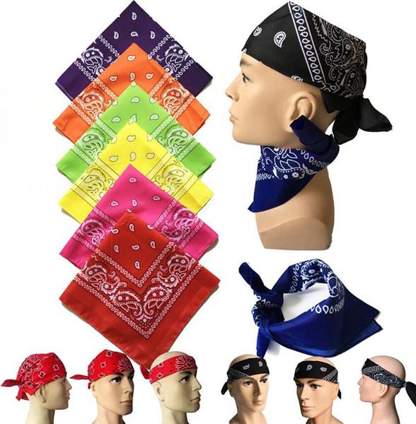 best selling 55*55CM Bandanna Paisley Print Handkerchief Magic Scarf Riding Headband Square Turban Outdoor Hiking Face Magic Scarf 30 styles LJJK2023