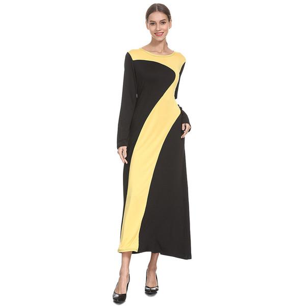 fashion chiffon islamic clothing muslim turkish dresses muslim splice knitting longsleeve arab dress islam jilbab dress 4.9
