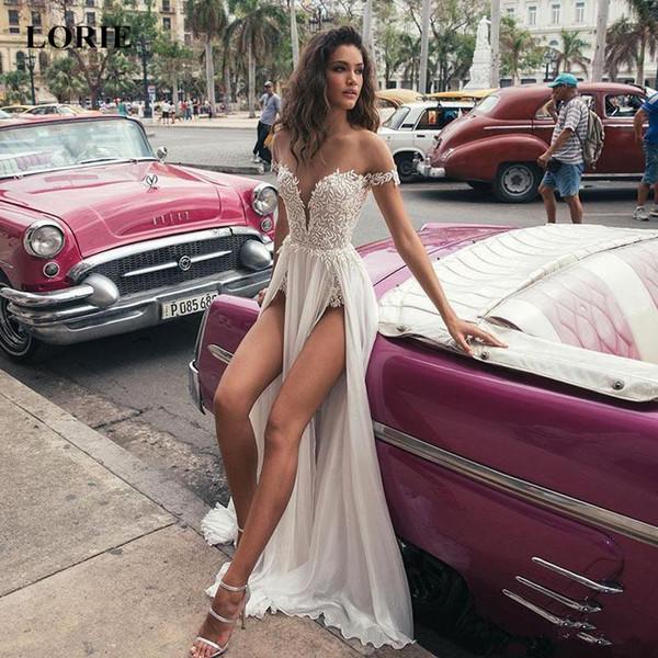 Lorie A-line Wedding Dresses 2019 Lace Appliques Double Split White Ivory Cheap Beach Bridal Gowns Vestido De Casamento New Y19072901