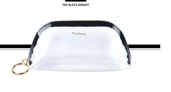 Transparent Pouch Portable Cosmetic Handbag Coin Purse Wash bag Black Pink Brown