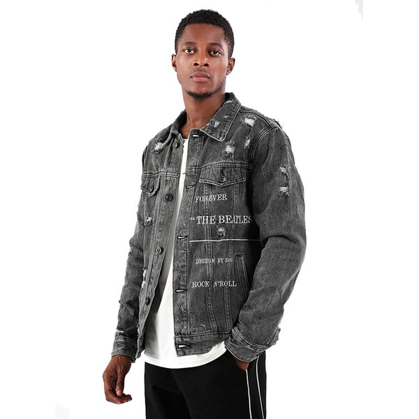 Новый 2019 верхняя одежда пальто Демин куртка мода лацкан мыть ретро отверстие вышивка джинсовая одежда Мужская Desiger куртка хип-хоп плюс размер L-5XL