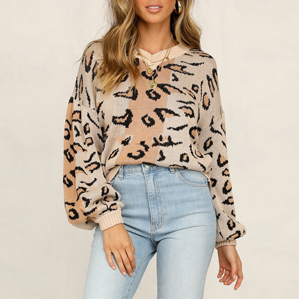 fashion leopard printed knitted sweater women pullover autumn winter long sleeve v-neck sweater casual lady jumper pull femme