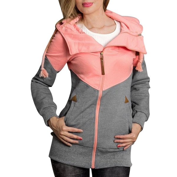 Fashion Spring Autumn Plus Size Women Color Block Hooded Jacket With Zipper Pocket Long Sleeve Slim Fit Female Sport Casual Coat