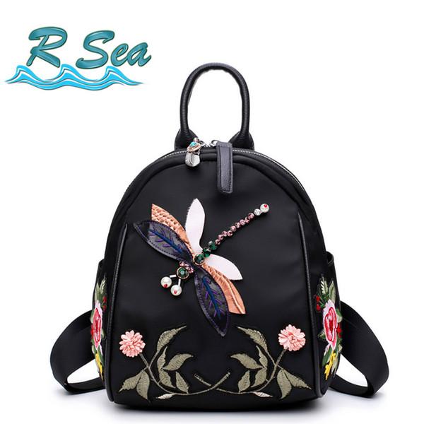 Hermoso patrón de libélula Mochila o flor Mujer bordado Mochila correa de hombro convertible estilo chino