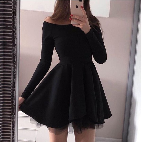 Compre Mini Vestidos Cortos De Cóctel Sexy Fuera Del Hombro Vestido De Fiesta De Manga Larga Bateau Vestidos Negros A Medida Sheer Vestidos De Cóctel