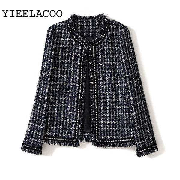 Navy blue Plaid Jacket 2019 Spring /Autumn Women's Jacket Round Collar Fringe Houndstooth Sisters Slim Winter Woolen
