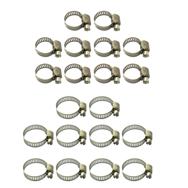 top popular 20Pcs Hose Clamp Including 10-16mm & 16-25mm Adjustable Pipe Tube Clamps 304 Stainless Steel Hose Clips 2021