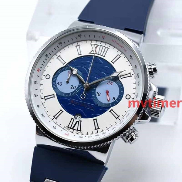 luxury new rose gold quartz chronograph sport swiss watch rubber un dive mens designer watches men wristwatches, Slivery;brown