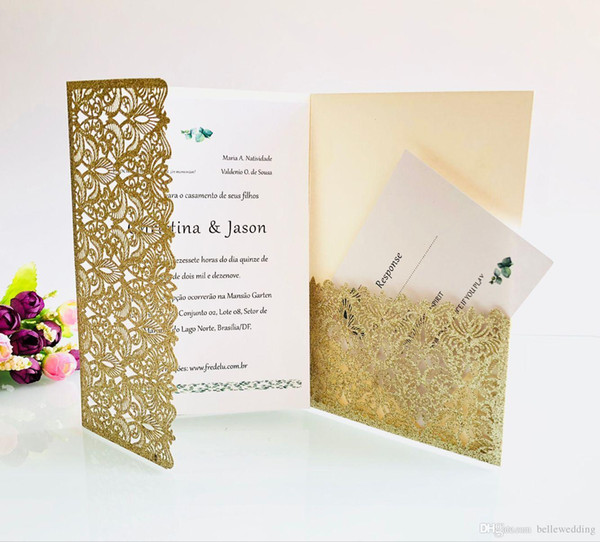 graphic regarding Printable Rsvp Card referred to as Laser Minimize Wedding ceremony Invites With RSVP Playing cards Gold Silver Glitering Custom-made Folded Wedding day Invitation Playing cards With Envelopes BW HK153C No cost Printable